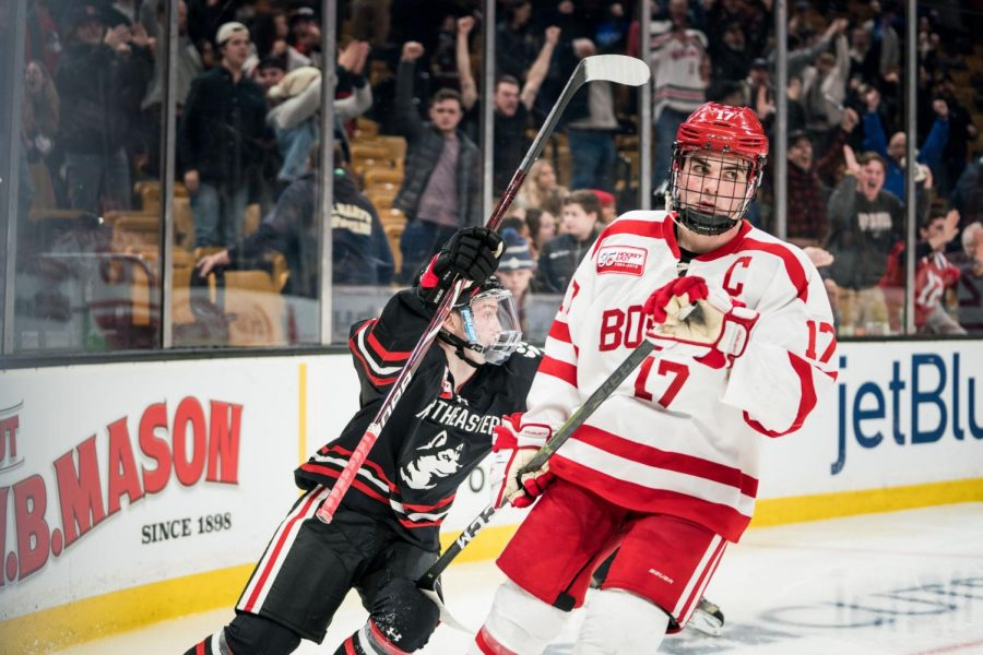 Freshman+forward+Tyler+Madden+celebrates+his+winning+goal+against+Boston+University+in+the+first+round+of+the+Beanpot.+The+Huskies+face+Boston+College+in+the+final+Monday+night.