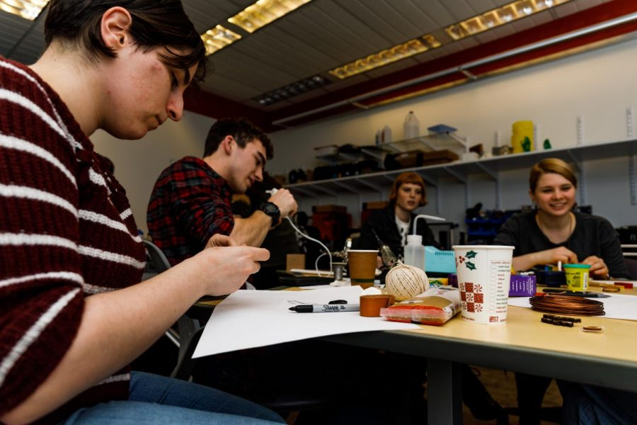 NEU Makers Club members work on their projects during the Lo-fi Prototyping Workshop.