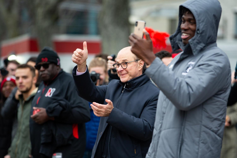 President+Joseph+E.+Aoun+shows+his+support+for+the+men%27s+basketball+team.