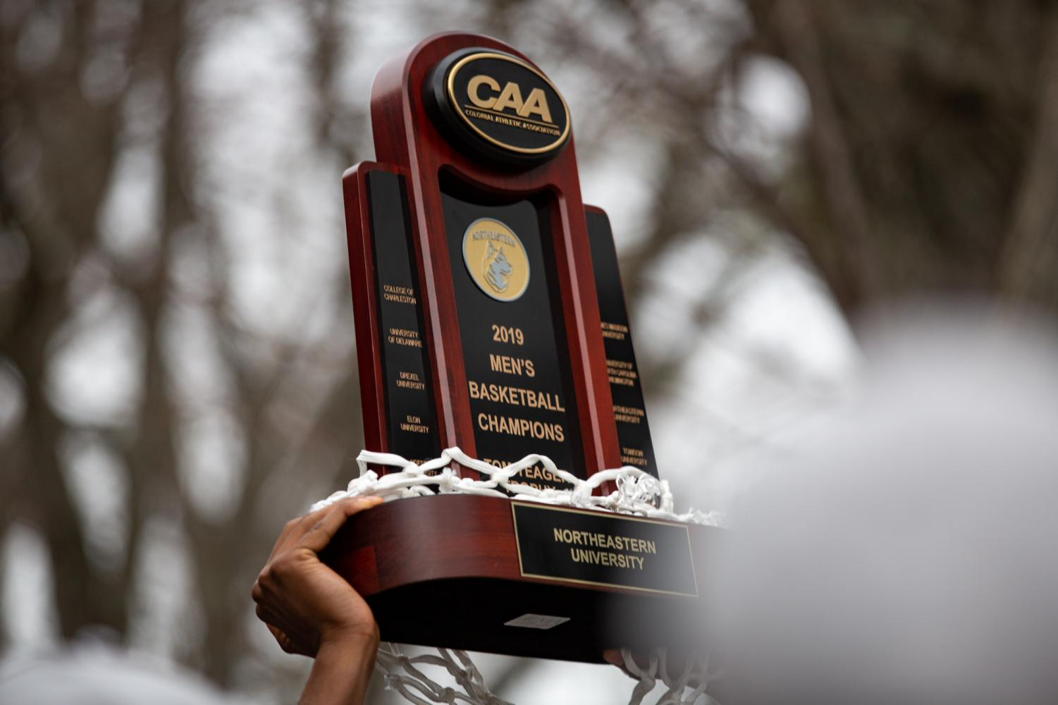 The+CAA+trophy+is+Northeastern%27s+first+since+2015.
