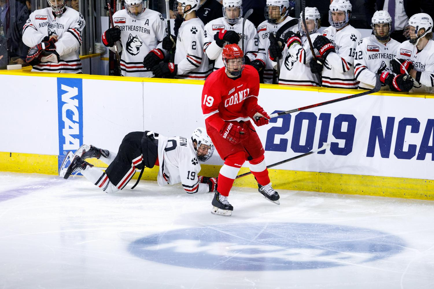 Lincoln Griffin loses his footing in front of the NU bench Saturday as the Huskies lost, 5-1 to Cornell in the NCAA Tournament.