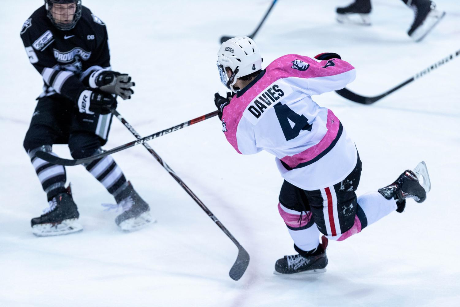 Davies takes a shot in a Jan. 26 game against Providence.