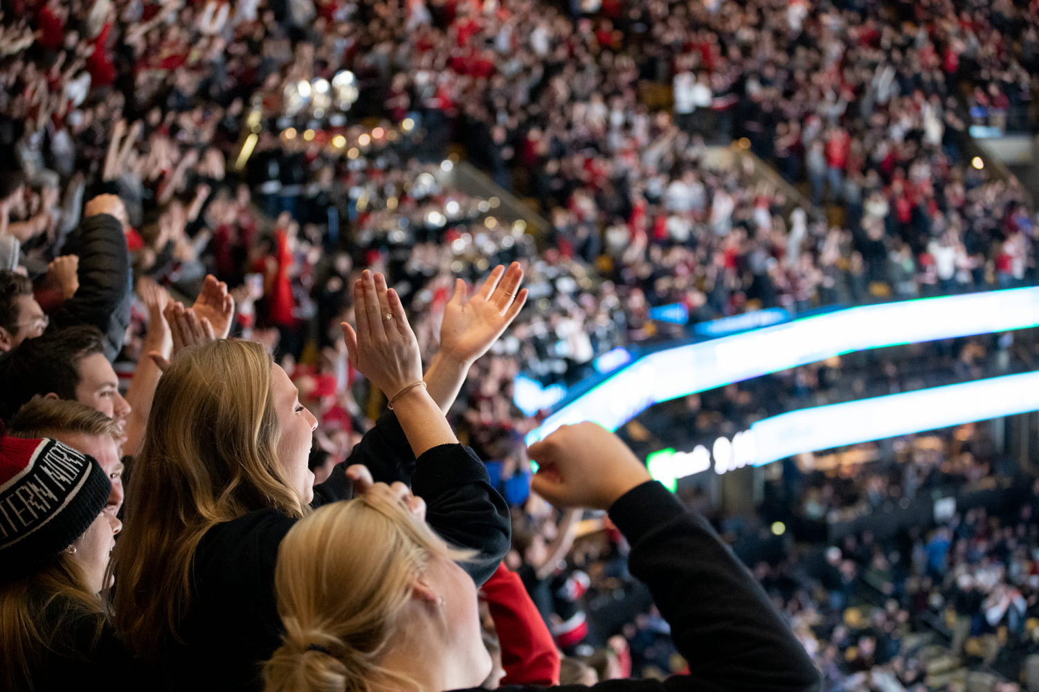 The DogHouse cheers on the men's hockey team at TD Garden Feb. 11 in the final of the Beanpot.