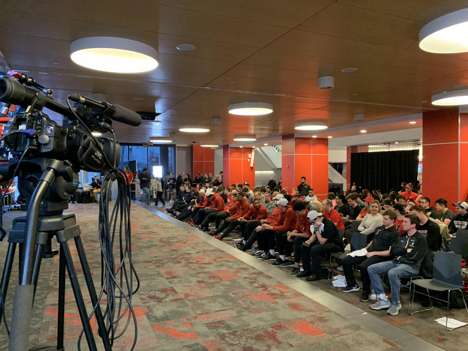 The Huskies awaited their first round matchup in Curry Student Center among supporters and the local media.
