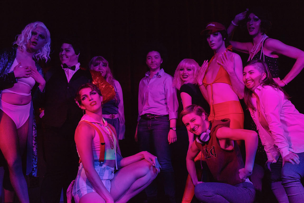 Performers at NU Pride's annual Husky Drag Show pose in AfterHours.