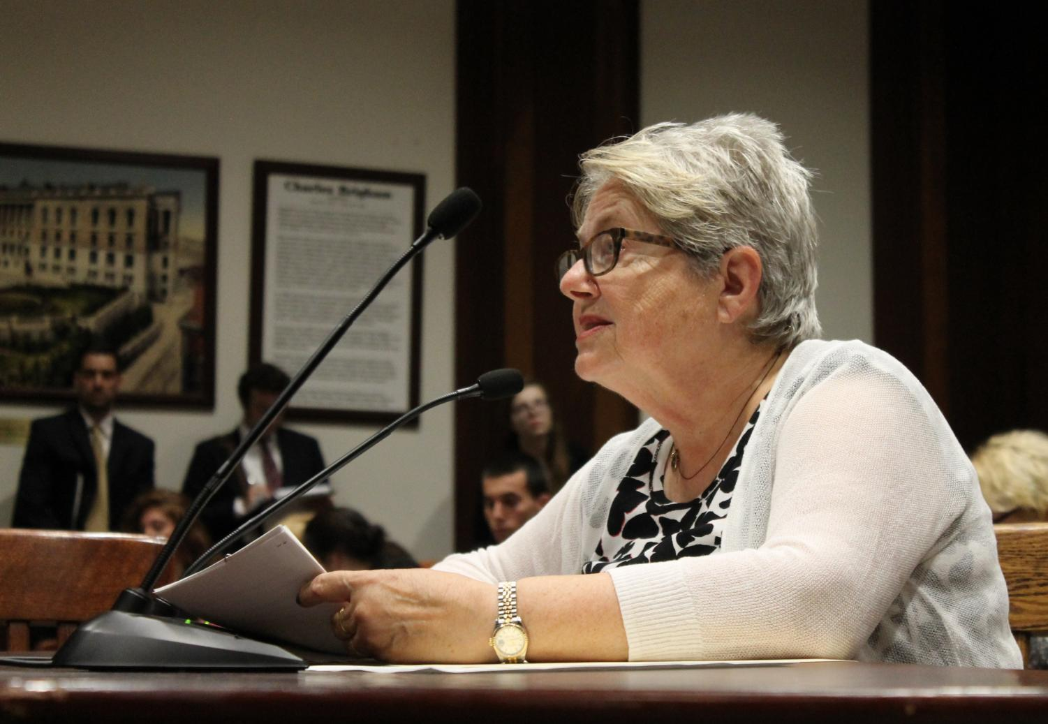 Democratic Rep. Kay Khan of Newton testifies before the Financial Services Committee last year.