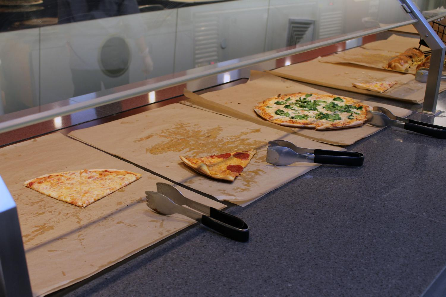 The International Village dining hall offers a wide selection of food, including pizza.