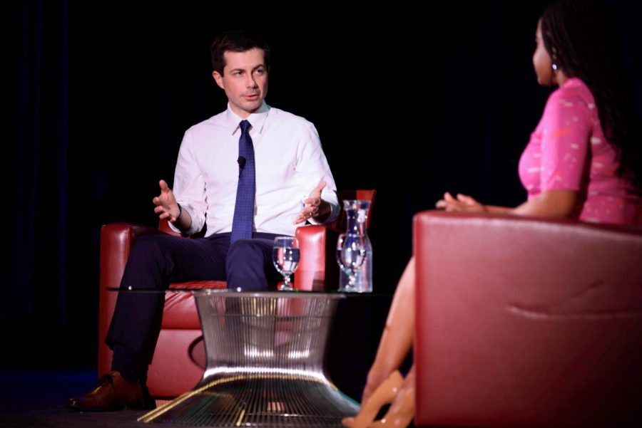 Pete Buttigieg made a stop at the Emerson Colonial Theatre in Boston on Oct. 29.