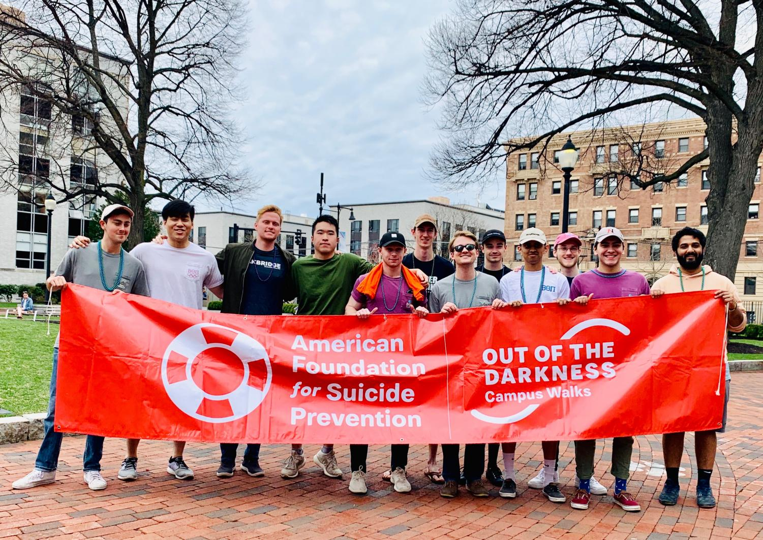 Beta Theta Pi brothers walked to bring awareness to mental health issues at the Out of the Darkness Walk.