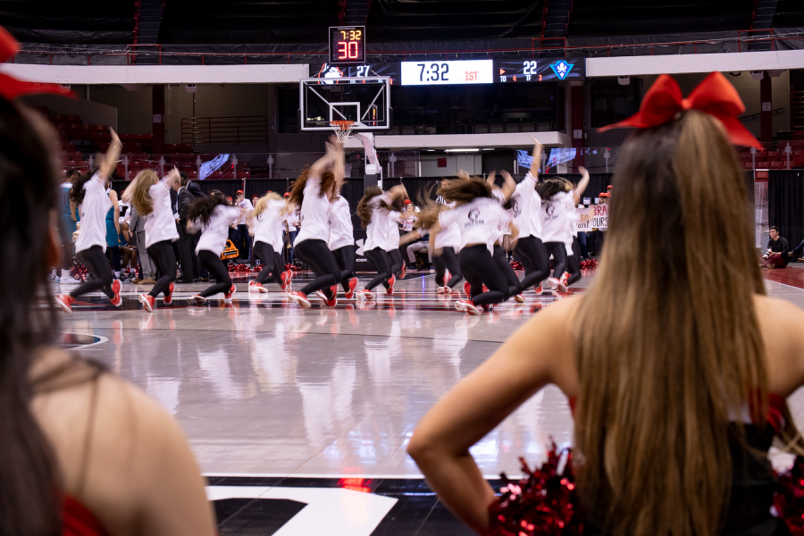 The dance team performs during a Jan. 19 men's basketball game against UNCW.