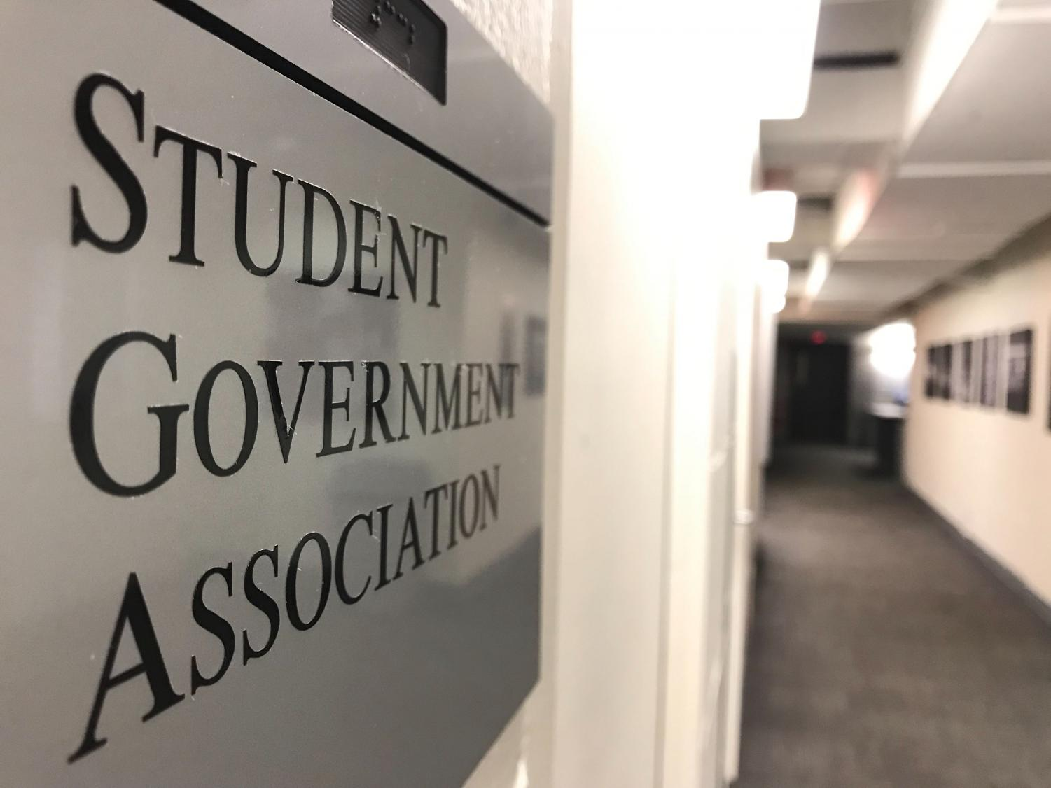 The Student Government Association office is located in 332 Curry Student Center.