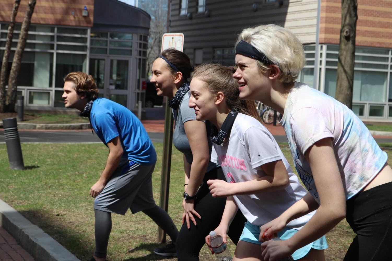 The final four contestants in season five of Survivor Northeastern prepare for their last challenge.