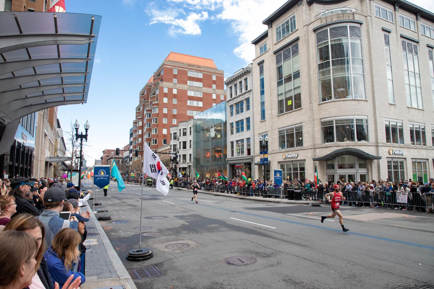 Thousands showed up to cheer on Boston Marathon runners on Monday.