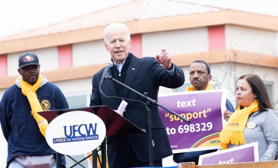 Former Vice President Joe Biden spoke to Stop & Shop workers on strike in Dorchester last Thursday.