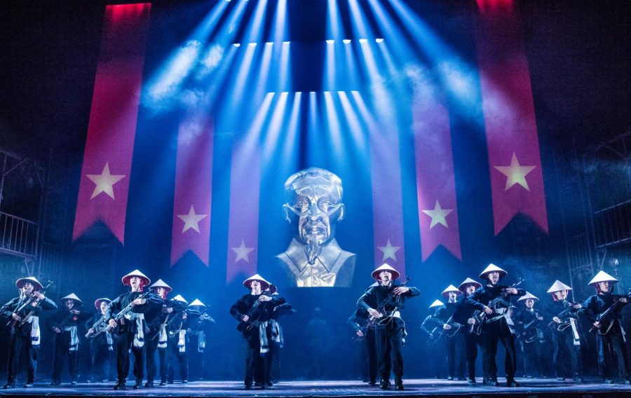 The Company of the North American Tour of Miss Saigon performs Morning of the Dragon.