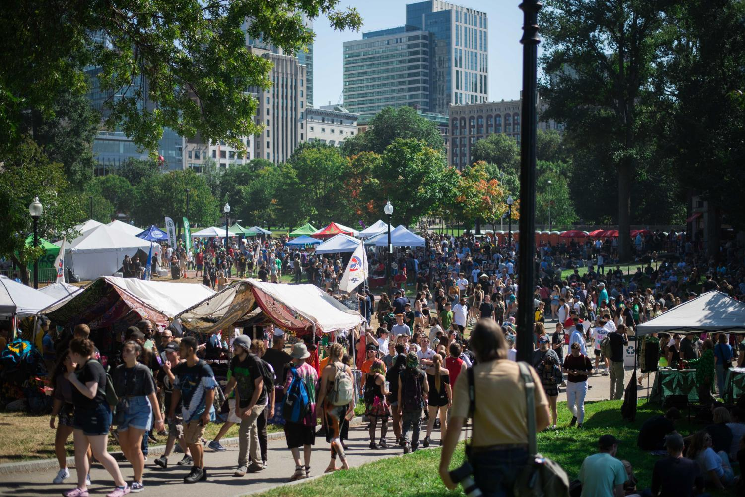 2019 Boston Freedom Rally-goers enjoy the annual event shortened to one day.