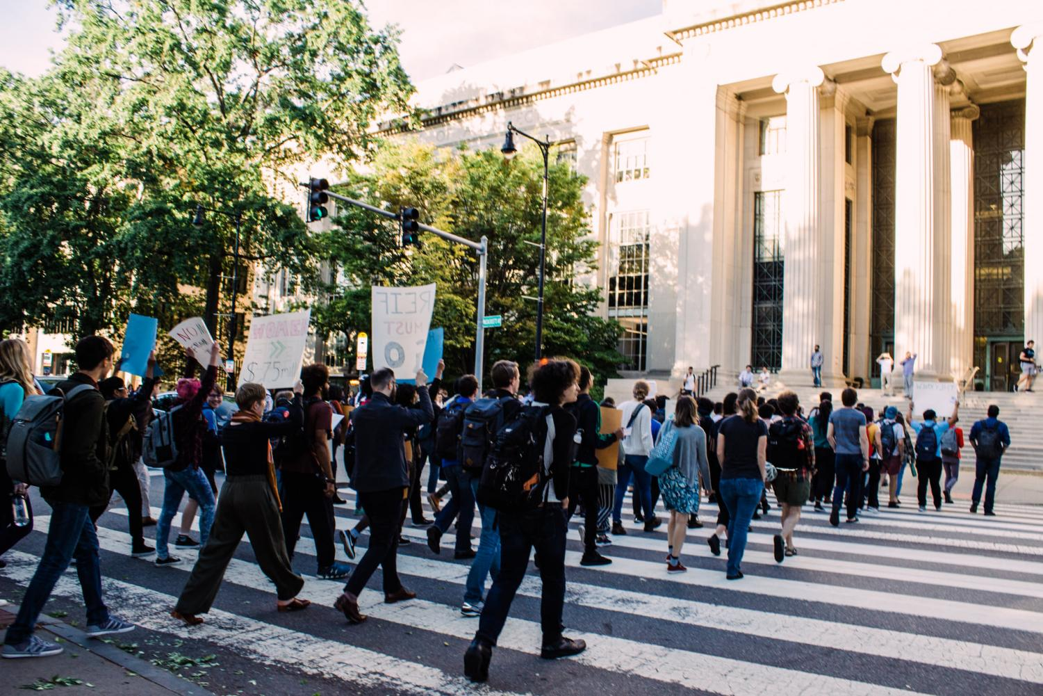 MIT students protest over the institution accepting Epstein's donations.