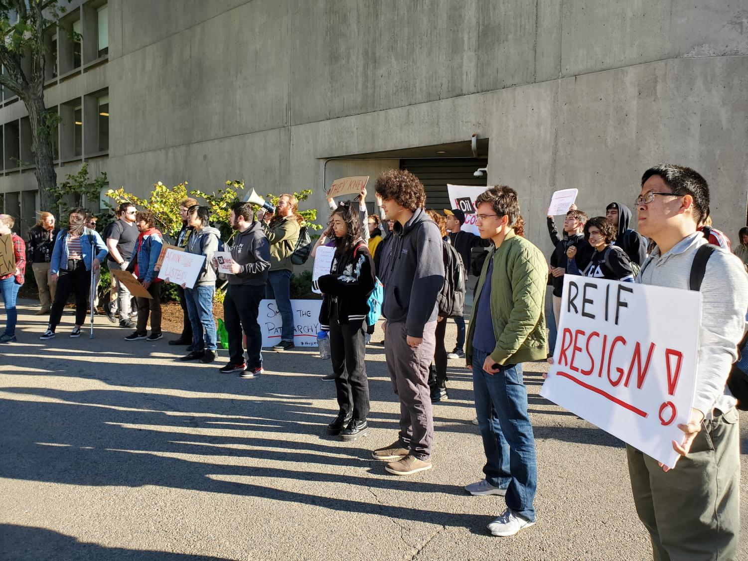 MIT students and faculty protested the administration's financial ties at the annual MIT Corporation meeting last Friday.