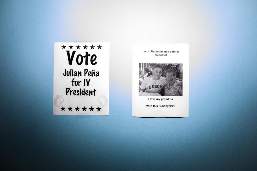 Campaign+flyers+are+posted+in+the+lobby+of+International+Village.