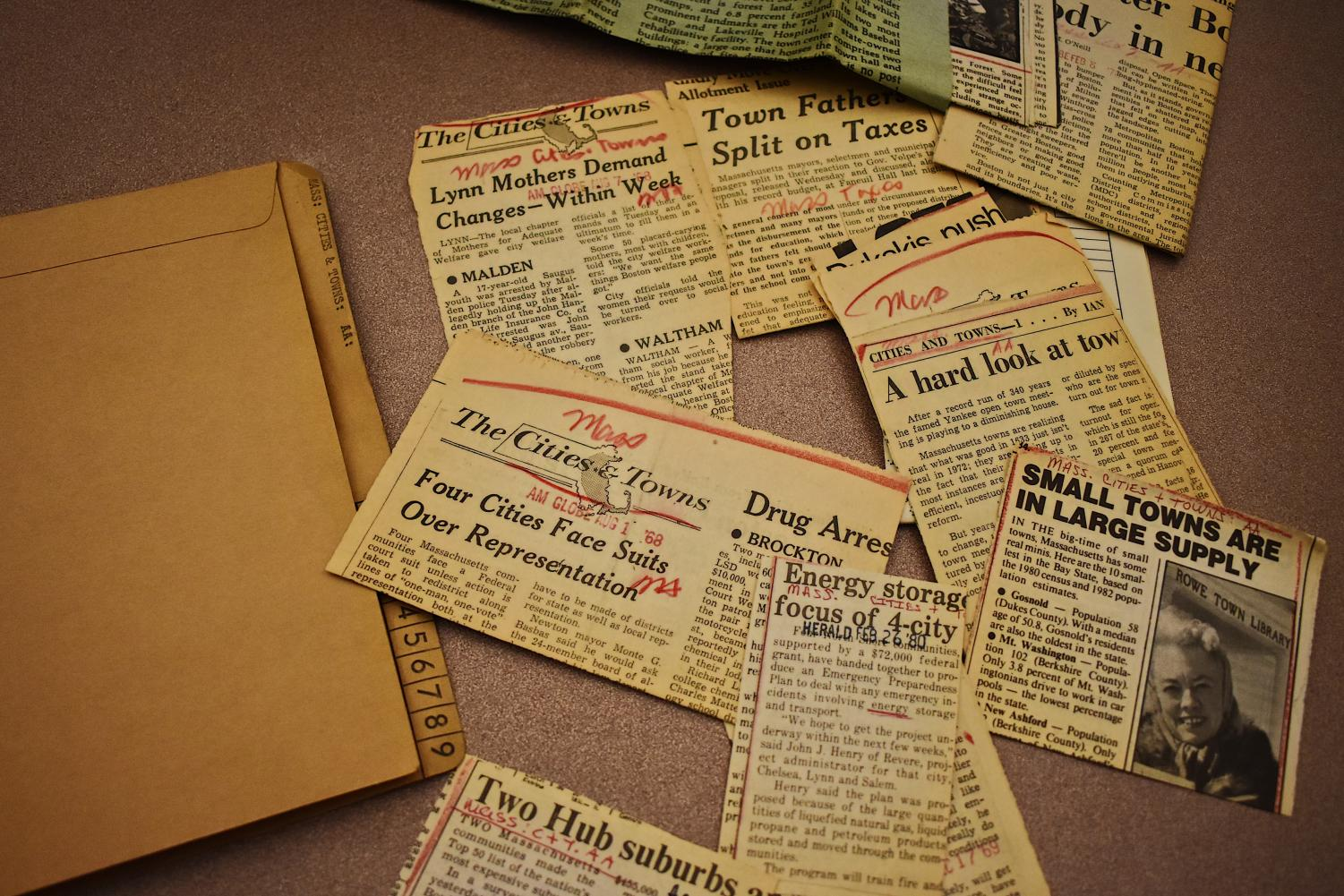 Boston Globe clippings are one of the many offerings in the archives department.