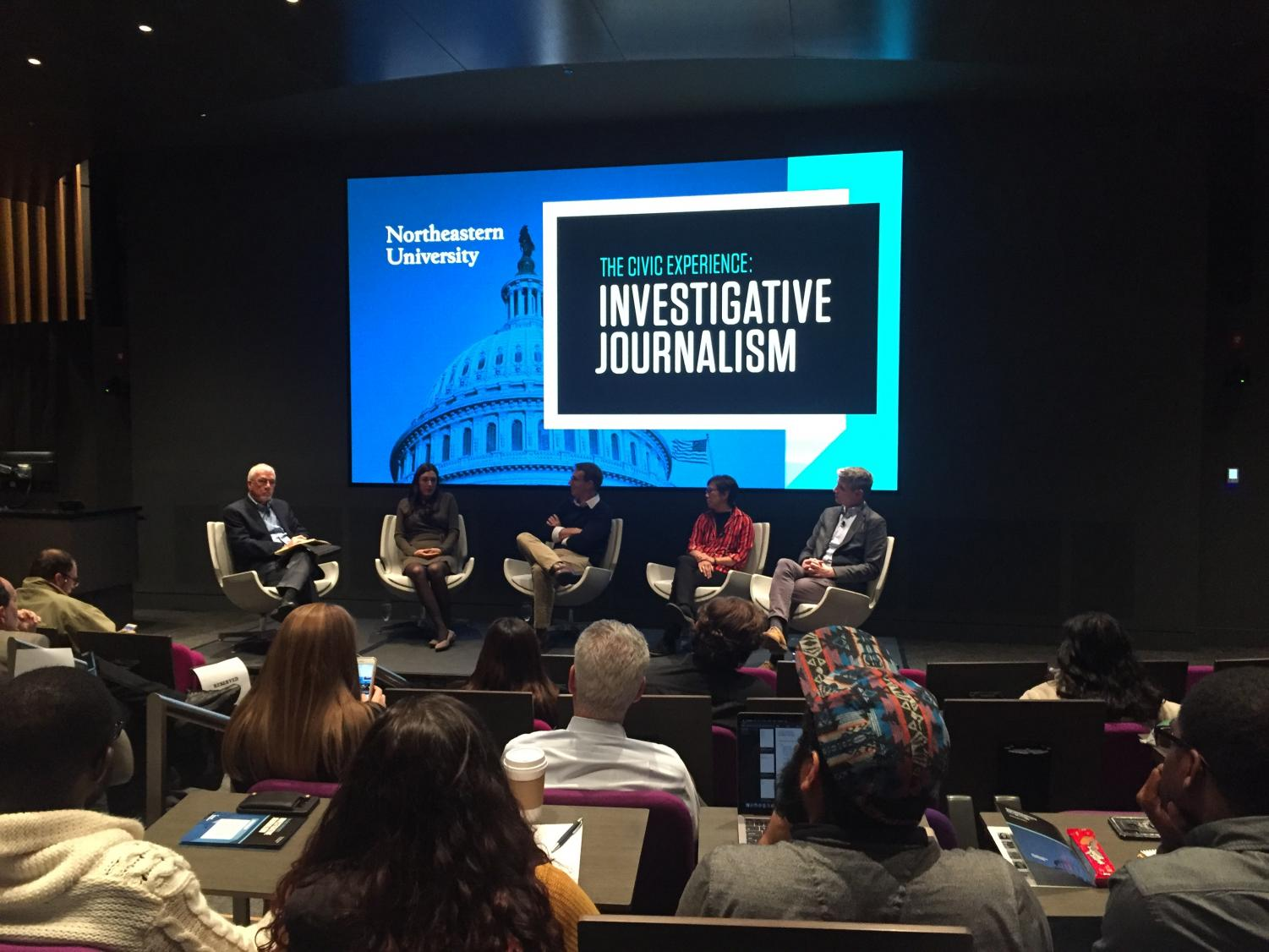Journalists gather for an investigative journalism panel on Oct. 28.