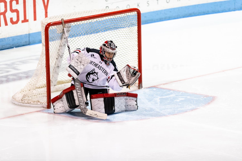 NU goaltender Aerin Frankel makes a save in a game last season versus Holy Cross.