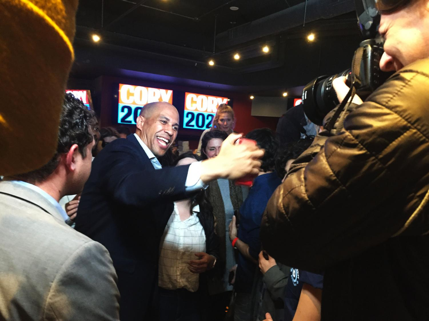 Sen. Cory Booker, D-N.J. at a campaign event at local Fenway bar Game On!