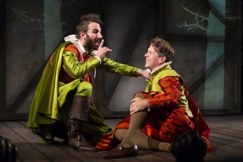 Alex Hurt (Rosencrantz) and Jeremy Webb (Guildenstern) in the Huntington Theatre Company's production of