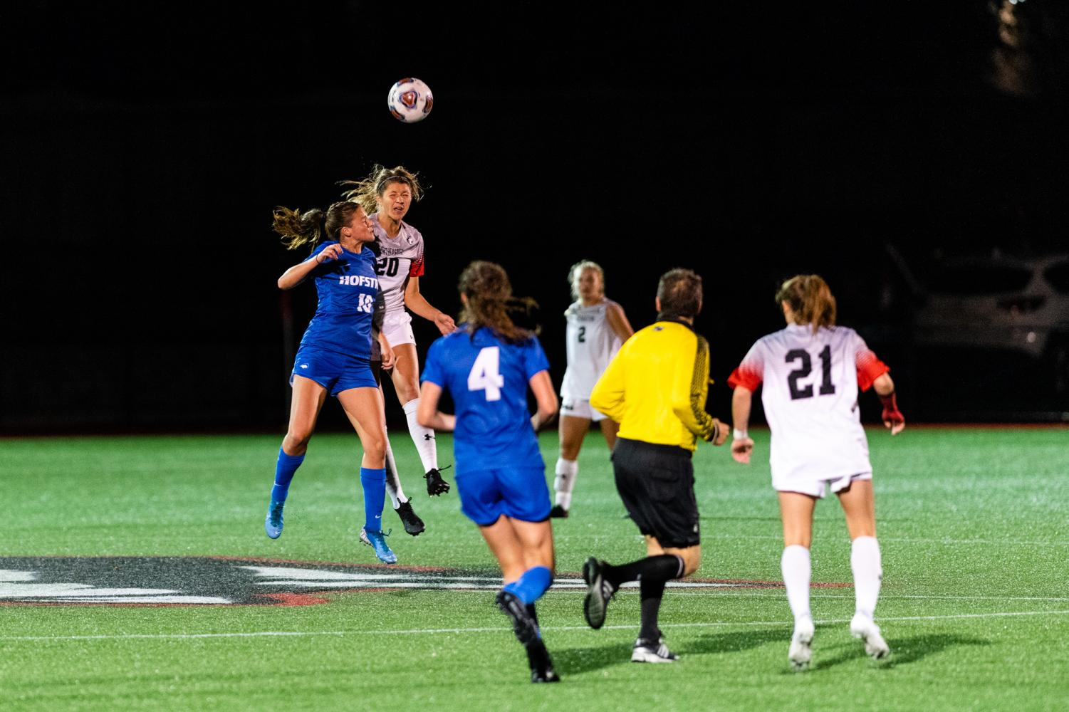Freshman midfielder Alexis Legowski goes for a header in a match earlier this season versus Hofstra.