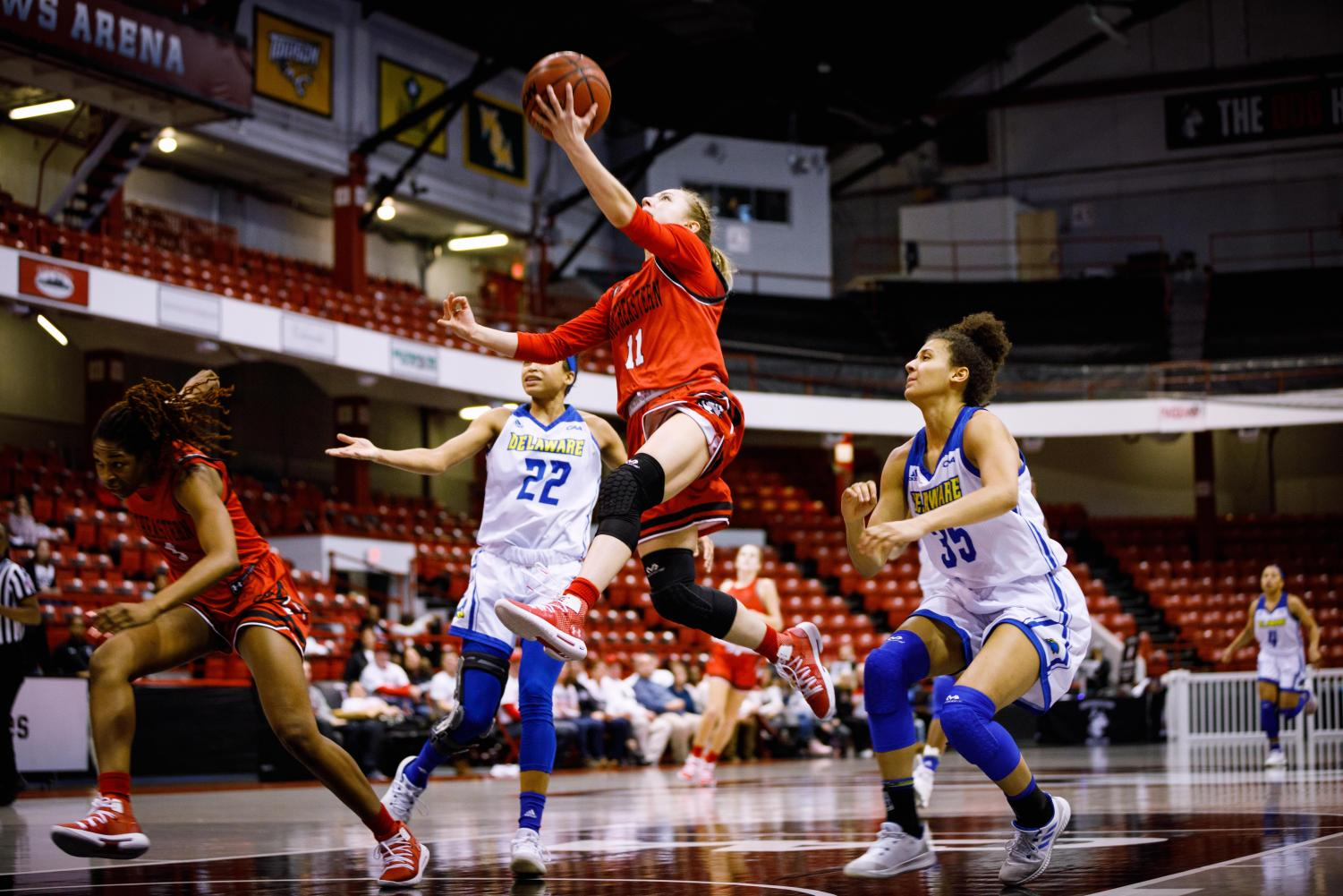 Junior guard Stella Clark goes up for a layup in a game last season versus Delaware.