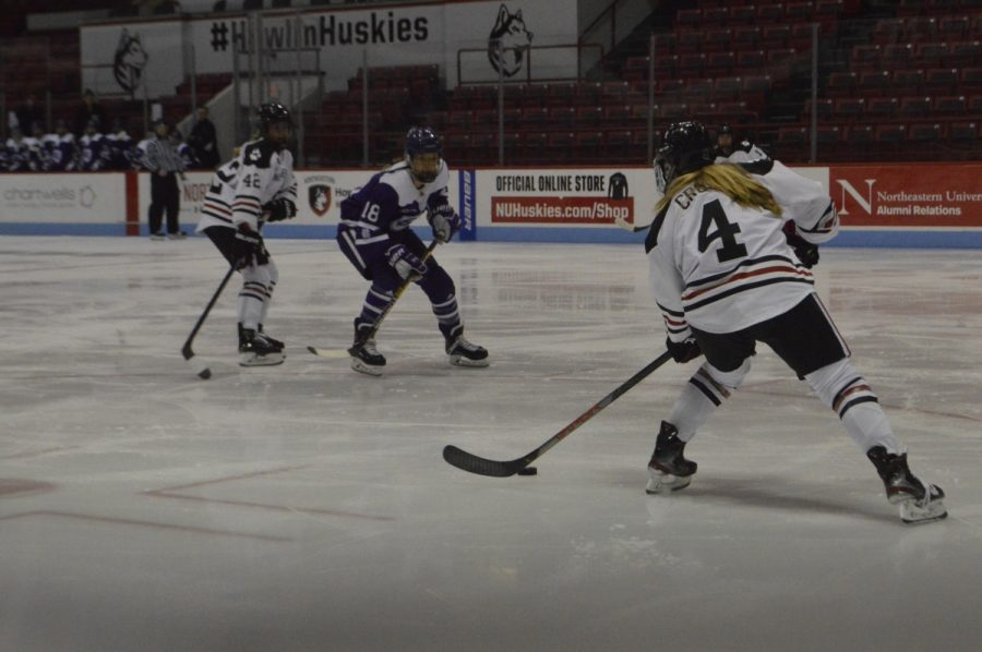 Senior defender Codie Cross moves the puck in a prior game against Holy Cross.