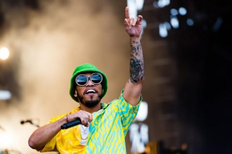 Anderson .Paak performs at Boston Calling 2019 wearing a bucket hat.