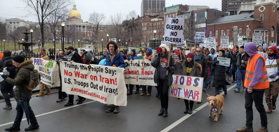 Bostonians gathered near the Common Jan 25. to condemn U.S. involvement in Iran and Iraq.