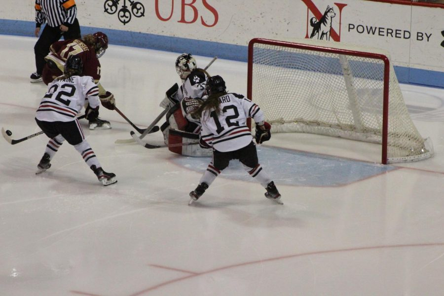 Aurard and Fontaine watch the aftermath of a Frankel save during a game against BC last week.