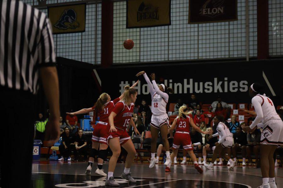 Senior forward Ayanna Dublin takes a jumper during a game against South Dakota earlier this season.