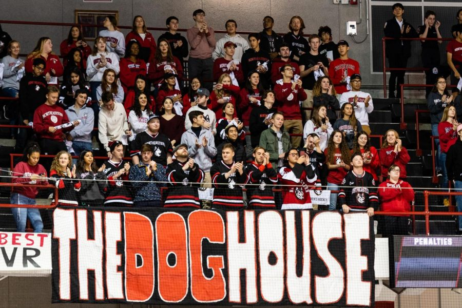A packed doghouse during a mens hockey game earlier this season.