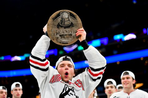 Huskies battle through double overtime, complete Beanpot three-peat with a 5-4 win
