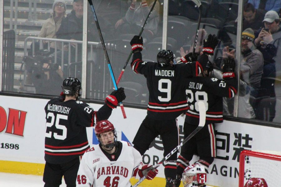 Madden celebrates a goal during NUs first Beanpot game this year.