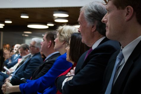 Markey and Kennedy sit with other politicians at the opening of Northeastern