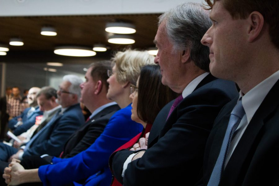 Markey and Kennedy sit with other politicians at the opening of Northeastern's Interdisciplinary Science and Engineering Complex in 2017.