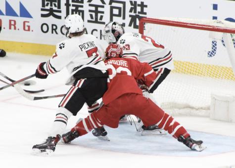 No. 16 men's hockey shutout by Boston University, 3-0