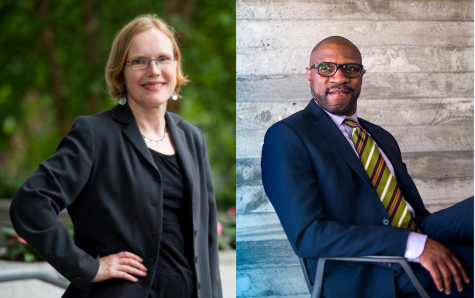 Dean Uta Poiger of the College of Social Sciences and Humanities and Dean James Hackney of the School of Law