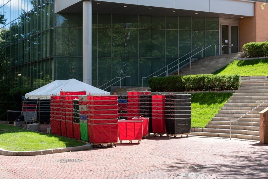 Moving hampers stacked outside the visitors center on Aug. 30.