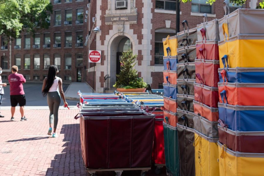 Moving hampers sit at the ready outside Lake Hall on Aug. 30.