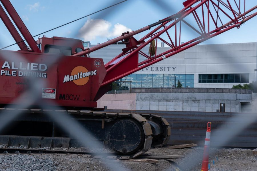 A crane sits idle on the ISEC II construction site Aug. 30.