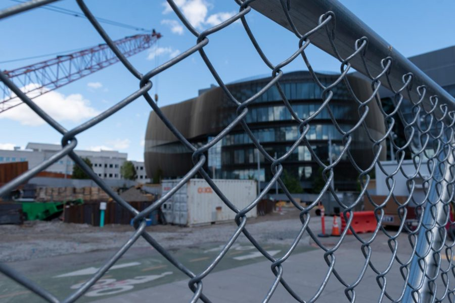 The ISEC II construction site (foreground), next to ISEC I (background).