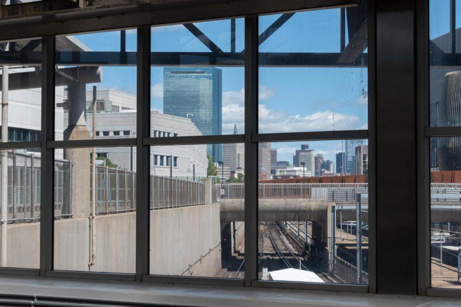 The Boston skyline visible from Ruggles station.