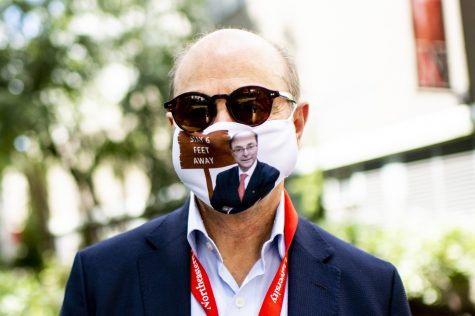 President Aoun wears a mask created by Northeastern student Naomi Silver.
