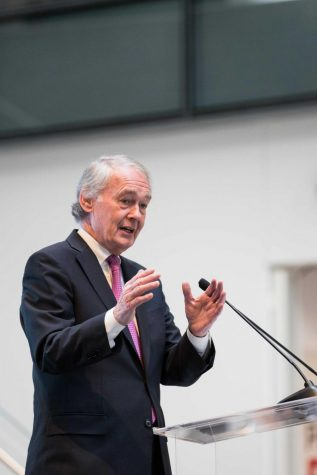 Sen. Ed Markey speaks at Northeastern in 2017 for the opening of ISEC.
