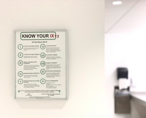 Northeastern displays 10 facts about Title IX in many restrooms around campus.